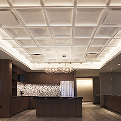 Contemporary Coffer Ceiling with Chandelier Tile Install at US Bank